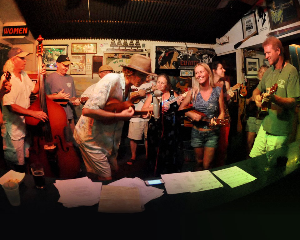 Photo of people playing ukuleles in Key West