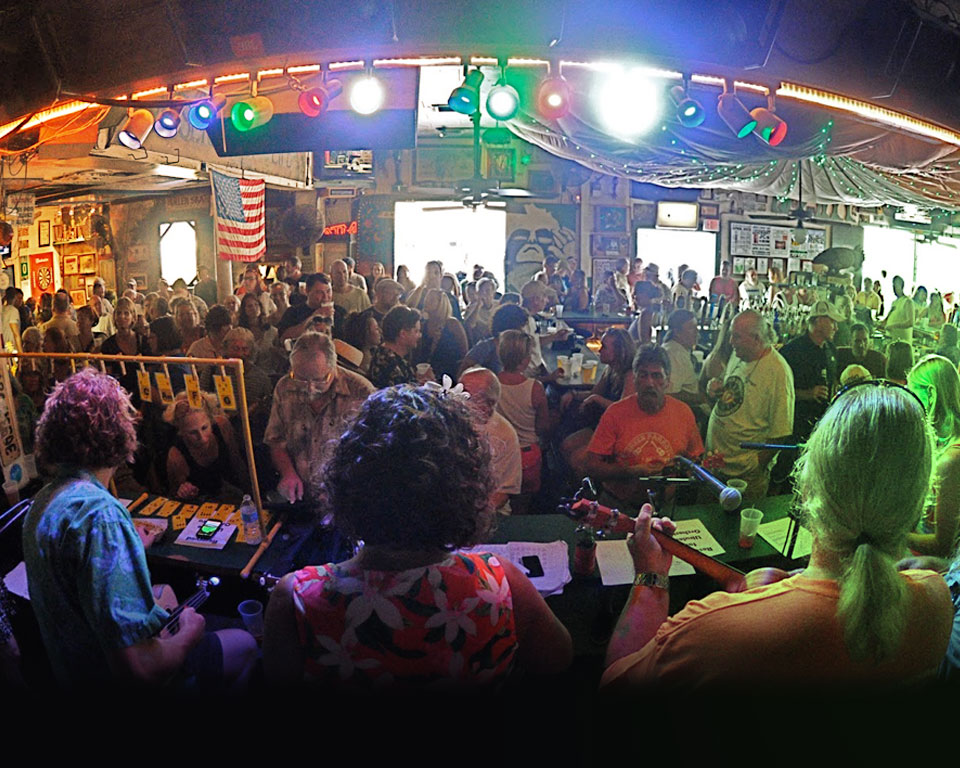 Photo of crowded bar during the day in Key West