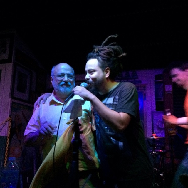 Myself and Itaguey from Locos por Juana onstage at the Green Parrot at Nick and Ingrid's wedding. What a night!