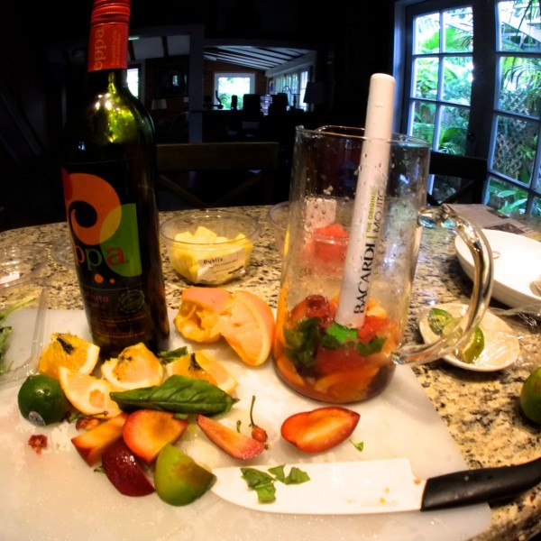 Sangria with fresh fruit