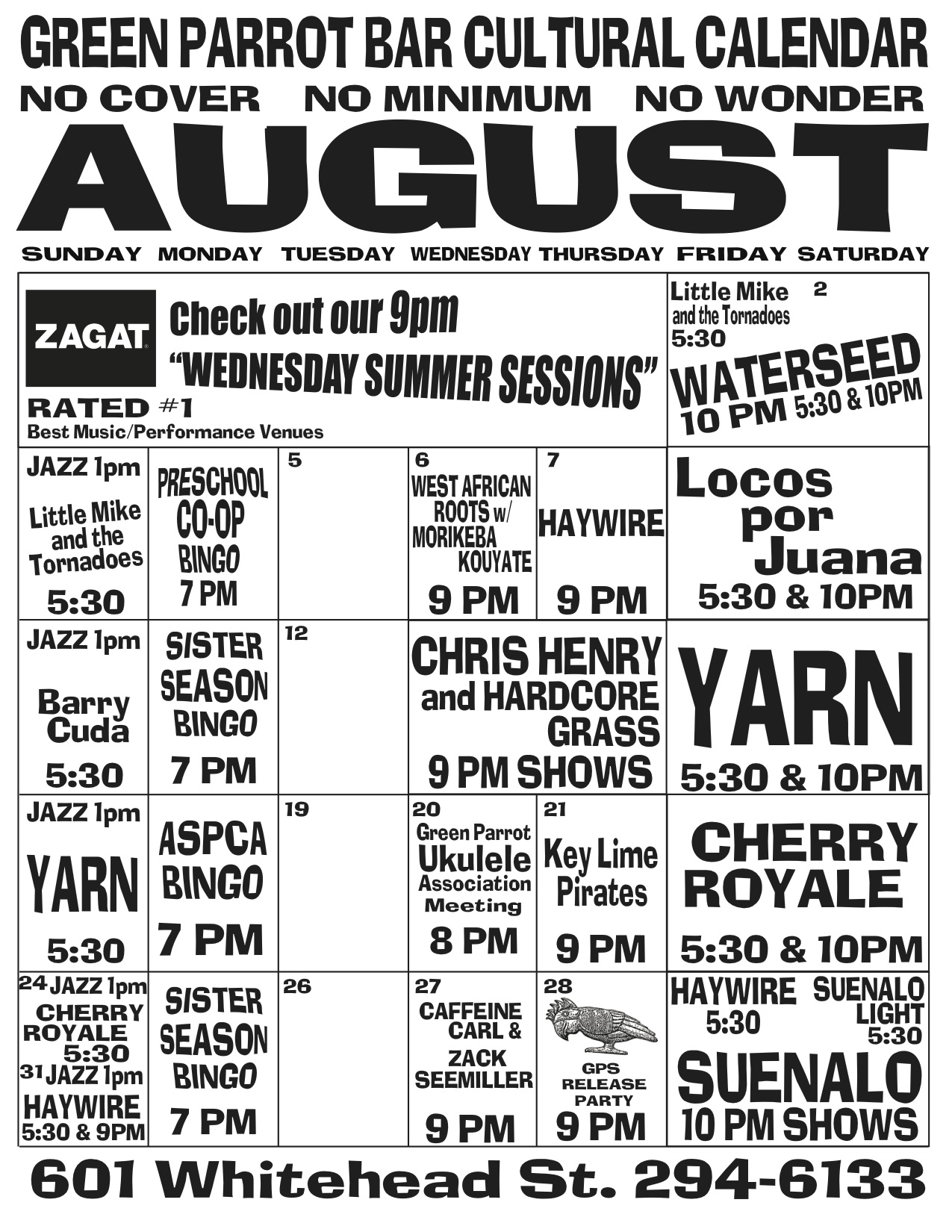 Green Parrot August Cultural Calendar