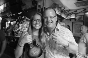 Hanna and her dad Andy at ukulele night at the green parrot