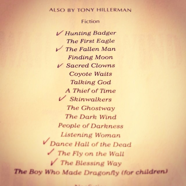 Marginalia: Here's the checklist of the Tony. Hillerman books read .