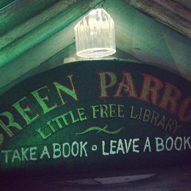 Green parrot little free library solar lighting #greenparrotbar #littlefreelibrary