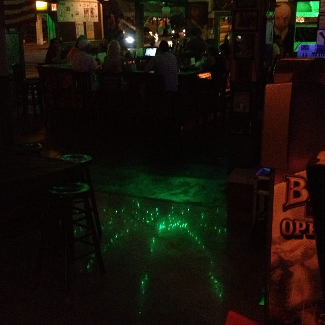 Parachute lights reflected on new floor. Trippy!