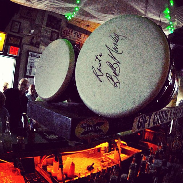 Bob Marley's signed bongo drums at The Green Parrot Bar. Happy 70th Birthday!
