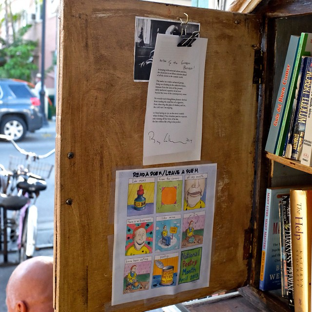 Green Parrot Little Free Library celebrates National Poetry Month: Read-a-Poem/Leave-a-Poem #greenparrotbar  #littlefreelibrary #nationalpoetrymonth #billycollins #brianturner #ABNegative