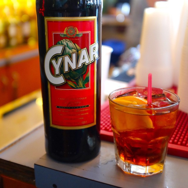 Sunday afternoon in the back bar, listening to jazz with a Cynar, an Italian artichoke-based bitter, w/ soda and orange slice. an inventive and richly-scented cocktail with a low-proof punch.  As my father, who's birthday is tomorrow, by the way, used to say in moments when he was particularly contented with some of life's simpler pleasures,