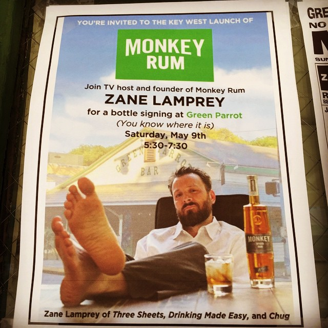 Zane lamprey and Monkey Rum are coming to Key West. Come by the Green parrot bar on Saturday, May 9th at 5:30 pm for the official launch of his monkey rum. Zane will be signing bottles and providing tastings of monkey spiced rum monkey toasted coconut rum