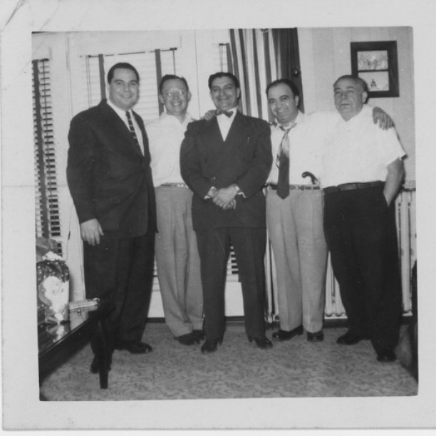 Here's to the fathers in my life, left to right, my uncle Johnny, my uncle Dick, my great-uncle Carmen Donato, my dad Al with the flintlock in his belt, and my grandfather John Cardona. All shaped me in their own way and I'm forever in their debt. #fathersday #savefamilyphotos #greenparrotbar