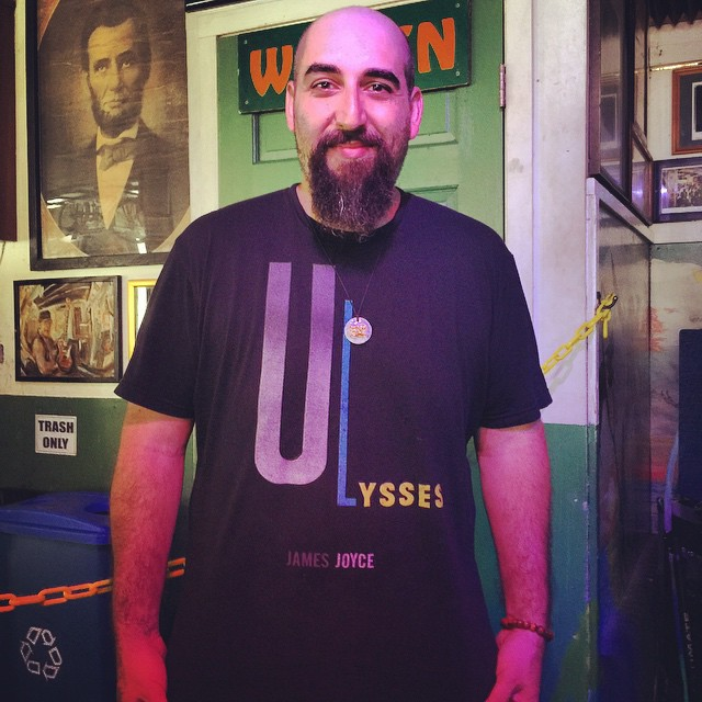 Max Farber, monster keyboardist for Juke, sporting his James Joyce Ulysses t shirt, getting the jump on Bloomsday at his Green Parrot gig last weekend #greenparrotbar #juke #bloomsday  #ulysses #jamesjoyce #dublin #greenparrotlittlefreelibrary #littlefreelibrary #outofprint