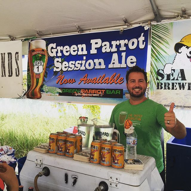 Getting ready to pour Green Parrot Session Ale at the 2015 Key West BrewFest at Southermost on The Beach! Come on down! #greenparrotbar #greenparrotsessionale #shipyardbrewery #keywestbrewfest #waterseed