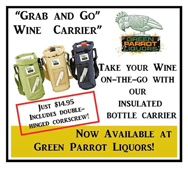 Great for the beach or a day on the water, great gift idea as well! At Green Parrot Liquors or Green Parrot Retail! Choose Green, Tan, or Navy! #greenparrotbar #greenparrotpackagegoodsandspirits #winelovers #grabandgo #vin