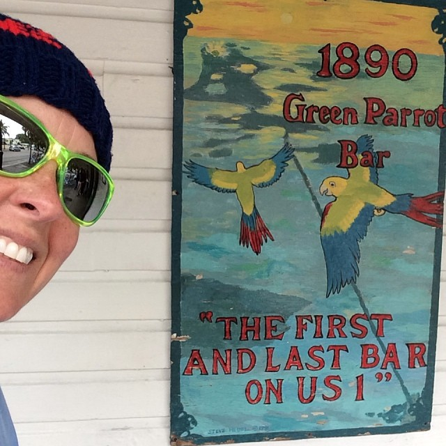 Cloudy cool gray day. Doing our own walking ghost tour. 1st rest stop at the first and last bar on hwy 1. #greenparrotbar #keywest #ghostsofkeywest