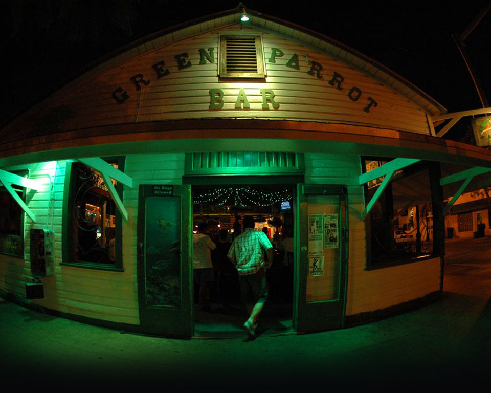 Photo of the front of the Iconic Green Parrot Bar