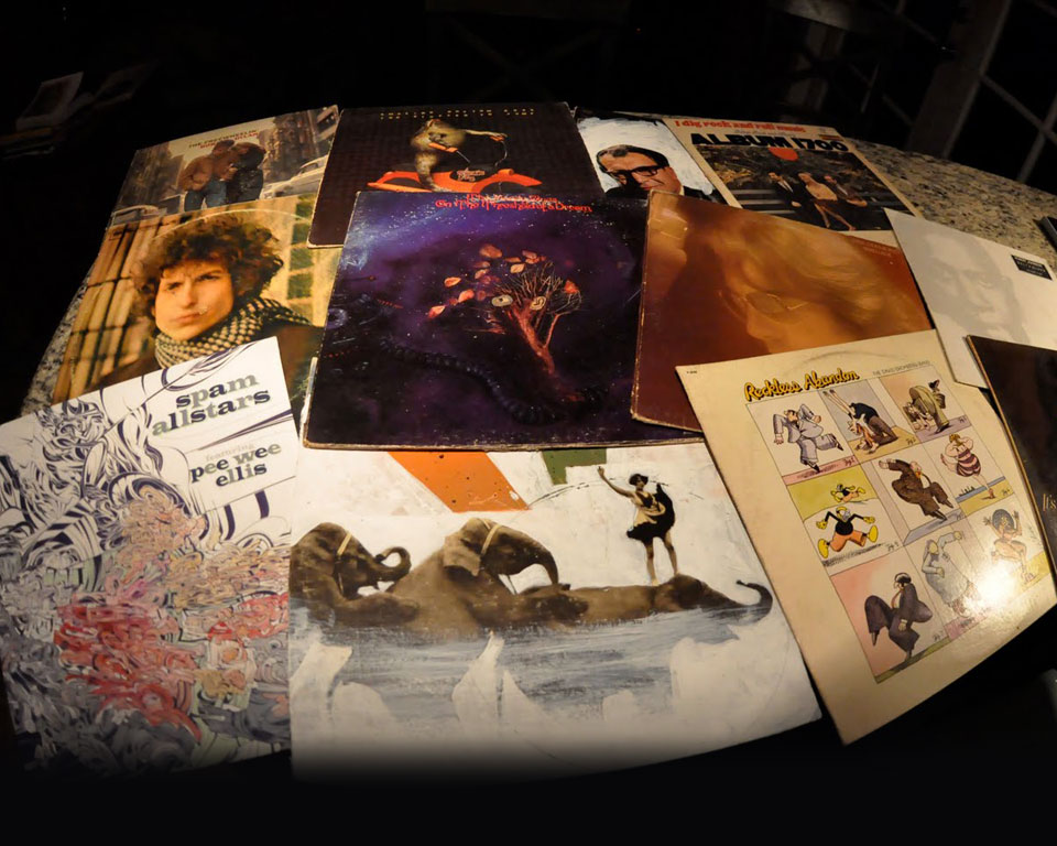 Photo of vinyl album covers