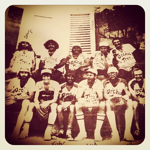 Key West circa 1975, The Zen Primates men's softball team sponsored by The Orchid Tree restaurant. Tony Gregory back row far left, Buzzy Rossman, front row 2nd from right.