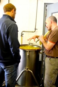 Jeff Sorg and Mike Haley make the hops tea