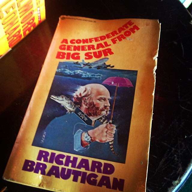 Sweet addition to our Green Parrot Little Free Library found on this rainy Tuesday morning. Love Richard Brautigan. Once when I was a bartender here in the early 70's, I saw him standing one morning under the overhang  outside, tall, rail-thin, squinting into our empty saloon and them moving on.