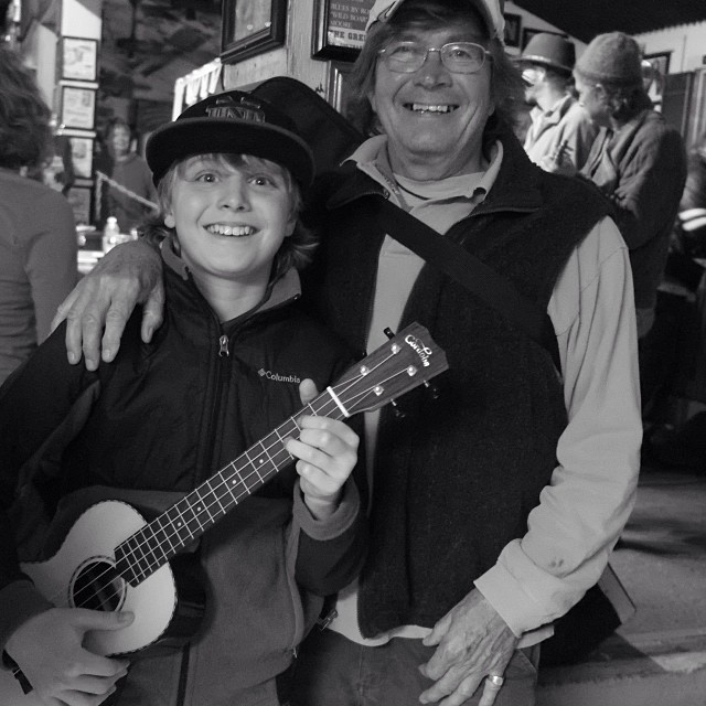 Casey O'Bryan and his mononymous grandfather Ricardo show that Green Parrot ukulele night is fun for all ages!