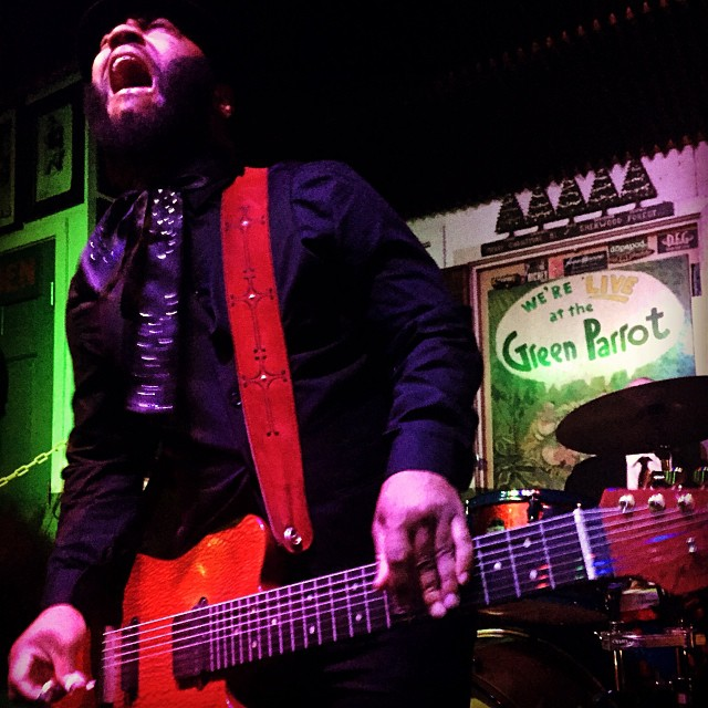 A.J. Ghent shredding it at The Green Parrot Bar. photo credit Jim Fossum