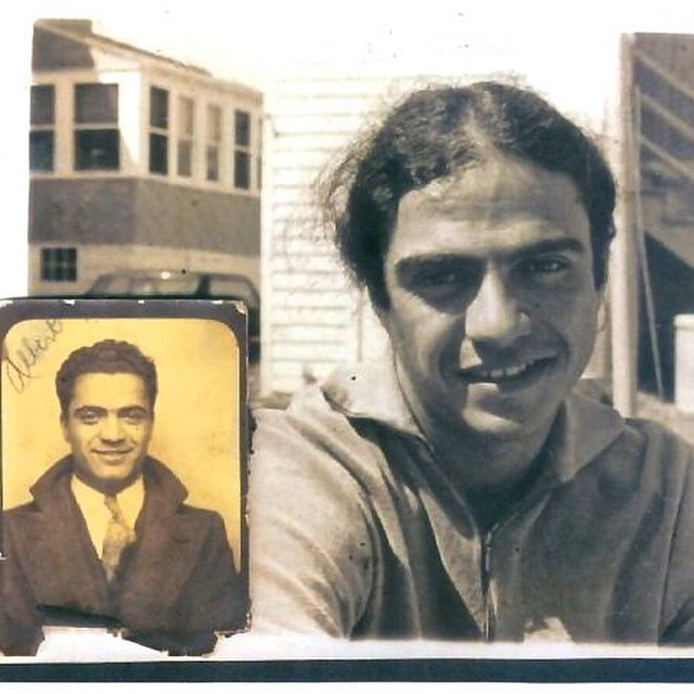 Photos of myself and my father, taken, I'm thinking, when we were both around the same age, about 22 or so. I posted it last year but I am compelled to do so again, out of respect, for who he was, and gratitude, for what he left me. Salute, Al, on today, your birthday, and thank you.