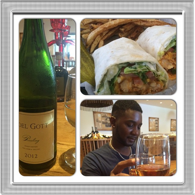 Started out with Joel Gott Riesling at #1ErCru; however @roderickwells was bamboozled into sipping #GrandMarnier. Then @maelynnbacchus joined us for dinner at Green Parrot Bar and the rest was history.  It's Monday and the week is off to a delicious start. #buffalochickenwrap #GreenParrotBar #goodtimes #progressivedrinks #MondayMatters #RoderickWells #MaelynnSeymourMajor #VKRmoments #Riesling #JoelGott  #Nassau #Bahamas