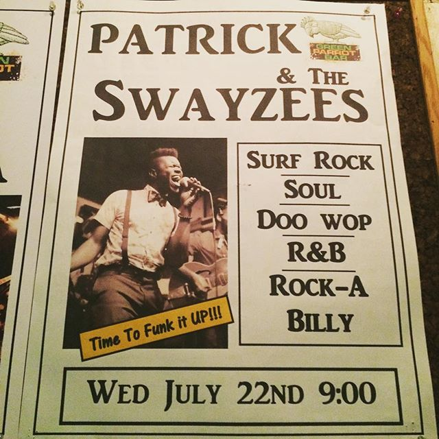 Now people will never stop mistaking me for Patrick of Patrick and the Swayzees  #SwayzeeLife #Swayzees #PATS #PatrickAndTheSwayzees #GreenParrotBar