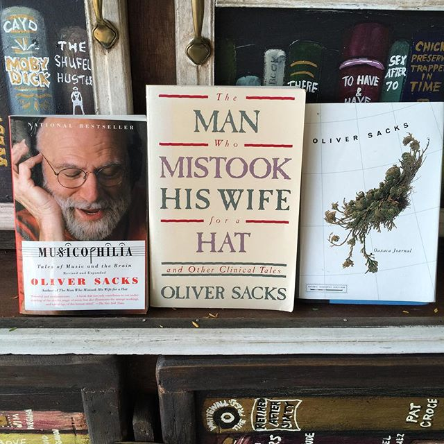 Pictured are three volumes by eminent neurologist and best-selling author Oliver Sacks, who died yesterday: The Man Who Mistook His Wife for a Hat from The Green Parrot Little Free Library, Musicophilia from The Green Parrot Band House Library, and Oaxaca Journal, from my own library at home.  These volumes demonstrate how far afield this truly extraordinary man's interests ranged: from the case histories of patients lost in the bizarre, apparently inescapable world of neurological disorders, to an exploration the place music occupies in the brain and how it affects the human condition, to Oaxaca Journal, a diary of a trip he took to Oaxaca, Mexico with the American Fern Society. #greenparrotbar #greenparrotlittlefreelibrary #littlefreelibrary #oliversacks #americanfernsociety #oaxaca #oaxacajournal #tuletree #bookleggerslibrary #bookleggers
