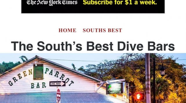 Green Parrot named top dive bar in South by southern living magazine